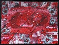 Malerei, Rot schwarz, Abstrakt, Hart