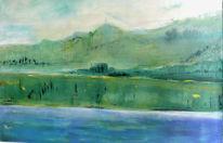 Landschaft, Acrylmalerei, Wasser, Grün