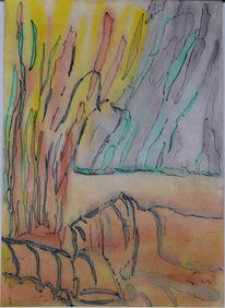 Mischtechnik, Aquarellmalerei, Abstrakt, Tusche