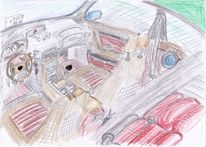 Auto, Car interior, Zeichnung, Zeichnungen