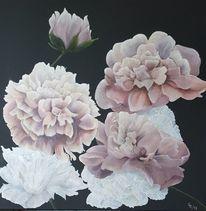 Weiß, Schwarz, Blumen, Ölmalerei