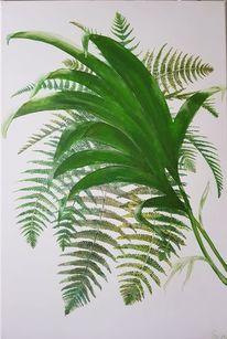 Farne, Palmen, Malerei, Pflanzen