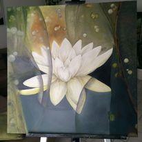 Natur, Seerose bunt, Malerei, Bunt