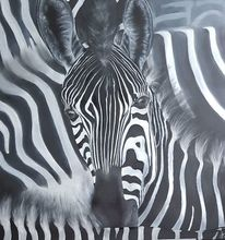 Zebra, Herd, Schwarz weiß, Malerei