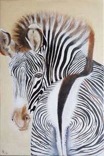 Wildtiere, Zebra, Tiere, Malerei