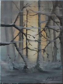 Licht, Schnee, Baum, Malerei