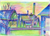 Steele, Haus, Landschaft, Morgen