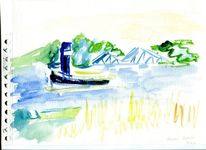 Havel, Potsdam, Glienicker brücke, Aquarell