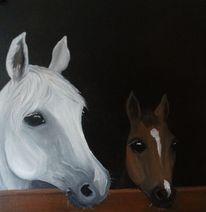 Araberstute, Pferde, Fohlen, Malerei