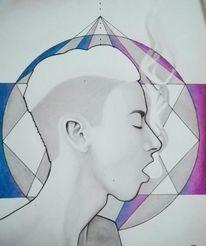 Zeichnung, Portrait, Haare, Mann