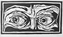 Achtung, Gesicht, Augen, Druckgrafik