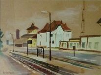 Bahnhof, Landschaft, Malerei, Braun