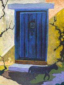 Malerei, Blau, Tür, Katze