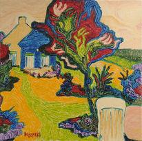 Stuhl, Pflanzen, Garten, Baum