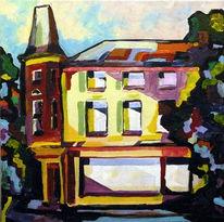 Stadt, Licht, Malerei, Haus