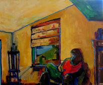 Menschen, Lesen, Rot, Ruhe gelb