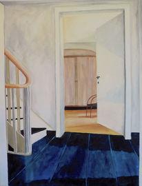 Blau, Treppe, Schrank, Gelb