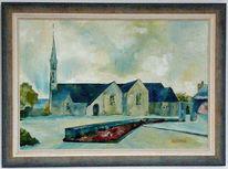 Bretagne, Kirche, Dorf, Baum