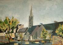 Stadt, Dorfansicht, Malerei, Kirche