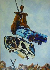 Malerei, Blau, Auto
