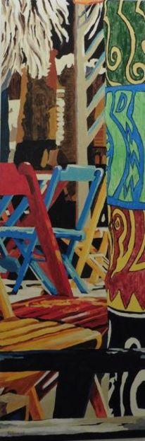 Stuhl, Blau, Palmen, Grün