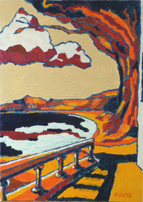 Ocker, Orange, Malerei, Wasser