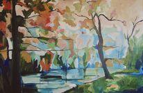 Fluss, Baum, Laub, Malerei