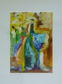 Malerei, Flasche, Blau, Grün
