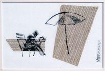 Schirm, Tuschmalerei, Menschen, Mischtechnik