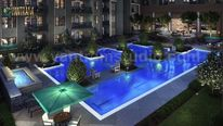 Moderne architektur, Steg, Wohngebiet, Digitale kunst