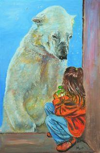 Kind, Bär, Frosch, Eisbär