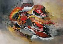 Rot, Gold, Abstrakte malerei, Moderne malerei