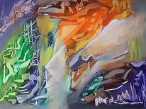 Blau, Zeitgenössische kunst, Grün, Abstrakte malerei