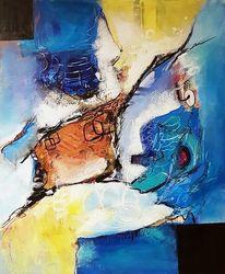 Moderne malerei, Acrylmalerei, Blau, Zeitgenössische malerei