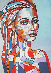 Moderne malerei, Portrait, Acrylmalerei, Frau