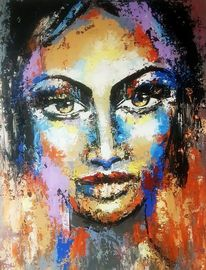 Portrait, Moderne malerei, Gemälde abstrakt, Portraitsmalerei