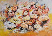 Blumen, Moderne malerei, Zeitgenössische malerei, Acrylmalerei