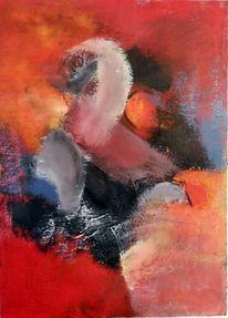 Moderne kunst, Rot, Gemälde, Blau