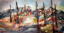 Gemälde abstrakt, Zeitgenössische malerei, Spachteltechnik, Landschaft