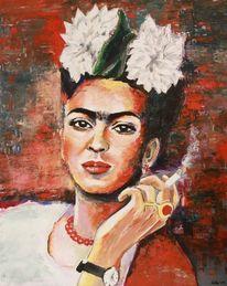 Zeitgenössische kunst, Frida kahlo, Malarei, Acrylmalerei