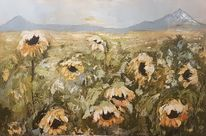 Landschaft, Spachteltechnik, Sonnenblumen, Landschaftsmalerei