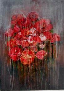 Blumen, Moderne kunst, Rot, Abstrakte malerei