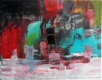 Schicht, Moderne kunst, Rot, Abstrakte malerei