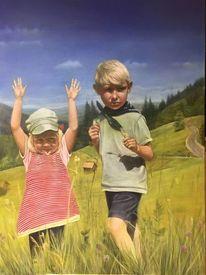 Kinder, Etwas weniger wolken, Schweiz, Malerei