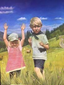 Malerei, Landschaft, Kinder, Natur