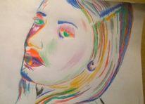 Mischtechnik, Abstrakt, Portrait, Zeichnungen