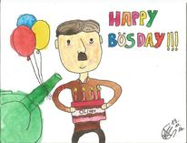 Geburtstag, Bösday, Aquarellmalerei, Hitler