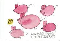 Maus, Käse, Pink, Aquarell