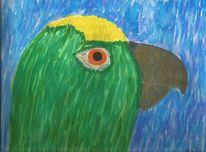 Amazone, Papagei, Stolz, Aquarellmalerei