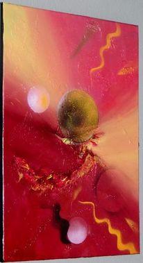 Abstrakt, Rot, Acrylmalerei, Spachteltechnik